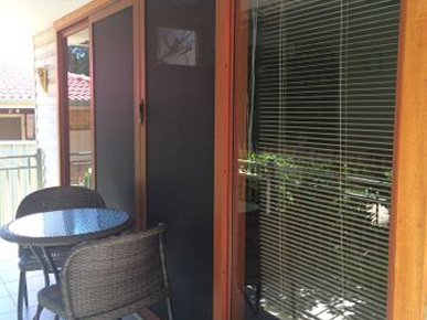 ClearShield Security Doors and Screens, Stained Glass Overlay and Chardonnay Doors