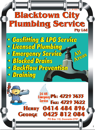 BLACKTOWN CITY PLUMBING SERVICE PTY LTD LicA1687